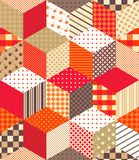 Cute colorful vector background with cubes and stars. Seamless patchwork pattern on warm tones. Stock Photo