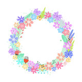 Cute colorful vector flowers frame Stock Photo