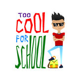 Cute Colorful Vector School Illustration with Cool School Boy Stock Photography