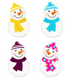 Cute Colorful Vector Snowmen Collection. Stock Images