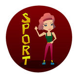 Cute Colorful Vector Sport Illustration with a Sporty Girl Stock Image