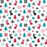 Cute colorful winter forest pixel pattern for kids. Vector set of seamless winter holiday background in red and teal green. Forest theme with reindeer, trees Stock Photos