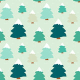Cute colorful winter tree seamless pattern background illustration Royalty Free Stock Photos