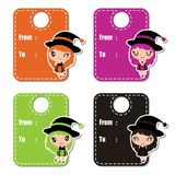 Cute colorful witch girls vector cartoon illustration for halloween gift tag design Stock Image