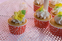 Cute and colorful yummy cupcakes tier Royalty Free Stock Photography