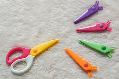 Cute colorful zigzag scissors with changeable blade stock photography