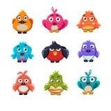 Cute Colourful Birds Vector Illustration Set Stock Image