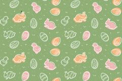 Cute colourful seamless Easter pattern vector illustration