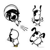 Cute comic dog monochrome sticker set. Cute dog hold bone sticker. Monochrome puppy collection design. Simple black white sketch vector illustration design Royalty Free Stock Photography