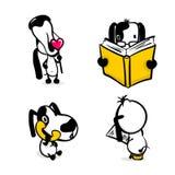 Cute comic dog monochrome sticker set. Cute dog reading book sticker set. Monochrome puppy collection design. Simple black white sketch vector illustration Royalty Free Stock Photography