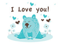 Cute comic and romantic bear in love. Pretty bear with flowers and hearts Stock Images