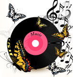 Abstract music background with vinyl record, notes and butterfli Royalty Free Stock Images