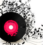 Abstract music background with vinyl record  and notes Royalty Free Stock Photography