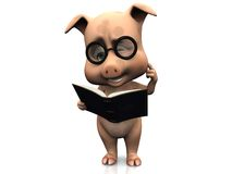 Cute confused cartoon pig holding a book. Stock Image