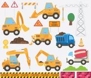 Cute Construction Transportation Set stock illustration