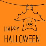 Cute contour bat. Happy Halloween card. Flat Stock Photography
