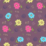 Cute contrast dark doodle floral pattern Royalty Free Stock Image