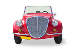 Cute convertible. Front view of an old red convertible Royalty Free Stock Image