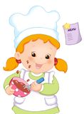 Cute cook. Colored illustration of a nice cook that prepares a delicious cream to the chocolate vector illustration
