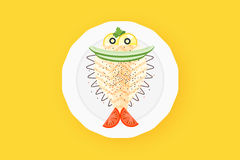 Cute Cooked Halibut Flounder Flatfish Vector Illustration Stock Photos