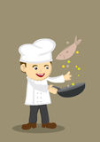 Cute Cooking Chef Vector Illustration. Vector illustration of a cute happy cartoon chef with a frying pan tossing a fish Stock Images