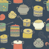 Cute cooking pots and lettering. Seamless pattern. Trendy background for scrapbook paper, textile, web and packaging royalty free illustration