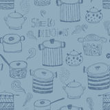 Cute cooking pots and lettering. Royalty Free Stock Image