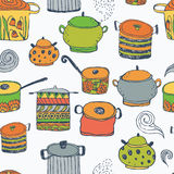 Cute cooking pots and lettering. Seamless pattern. Trendy elements for scrapbook paper, textile, web and packaging vector illustration