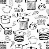 Cute cooking pots and lettering. Seamless pattern. Trendy elements for scrapbook paper, textile, web and packaging royalty free illustration