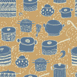 Cute cooking pots and lettering. Seamless pattern. Trendy elements for scrapbook paper, textile, web and packaging stock illustration