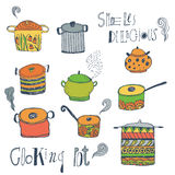 Cute cooking pots and lettering. Vector set. Royalty Free Stock Photos
