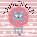 Cute, cool, pretty, funny, crazy, beautiful cat, kitty with donut vector illustration