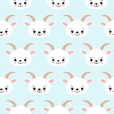 Cute Cool Seamless Pattern Baby Animals Farm Goat stock illustration