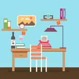 Cute Copywriter workspace vector. For your ideas Stock Image