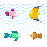 Cute coral reef fishes vector illustration icons set. Collection of funny colorful fish. Royalty Free Stock Photo