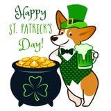 Cute corgi dog dressed as leprechaun, holding green beer mug, with pot of gold coins vector cartoon illustration. St. Patrick`s royalty free stock image