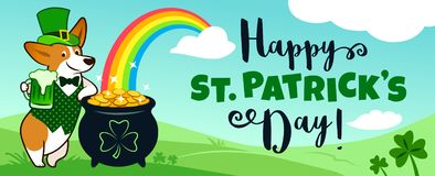 Cute corgi dog in leprechaun costume with pot of gold and rainbow, blue sky and green hills, Happy St. Patrick`s Day! text. Pets, royalty free stock image