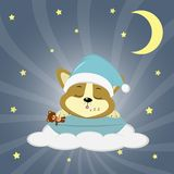 A cute Corgie puppy in a green hat is sleeping on a pillow. Lies on a cloud, holds a bear, against the background of the night sky Stock Photo