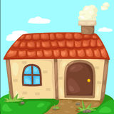 Cute cottage with smoking chimney Royalty Free Stock Photo