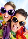 Cute couple. Funny cute couple with huge eyeglasses stock photos
