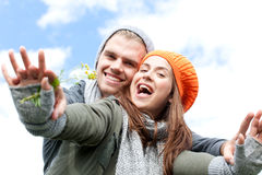 Cute couple. Looking in the camera royalty free stock photography