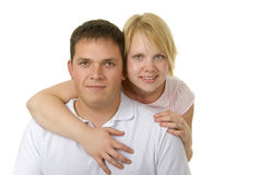Cute couple in 30s share a moment. Cute loving couple share a special moment together with a hug stock photography