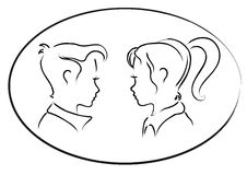 Cute couple. Vector sketch of a cute young couple Royalty Free Stock Image