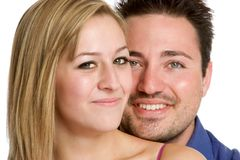 Cute Couple. Cute isolated happy couple closeup royalty free stock image