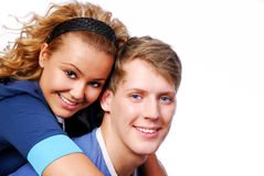 Cute couple. Portrait of cute couple looking at camera royalty free stock images