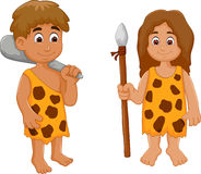 Cute couple ancient human cartoon. Illustration of cute couple ancient human cartoon Royalty Free Stock Images