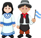 Cute Couple argentina cartoon with National Clothes Stock Image