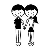 Cute couple avatars characters Stock Photography