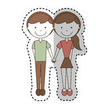 Cute couple avatars characters Stock Images