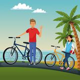 People riding bikes. Cute couple at beach with bikes vector illustration graphic design royalty free illustration
